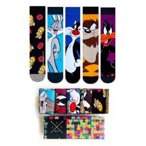 Çizgi Film Desenli Karakterli Resimli Renkli Soket Çorap Kutusu