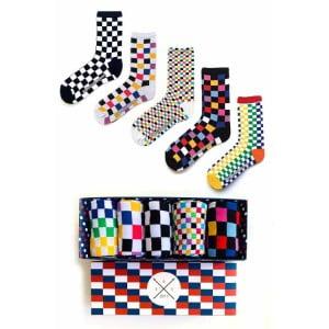 Dama Desenli Renkli Şekilli Soket Çorap Kutusu