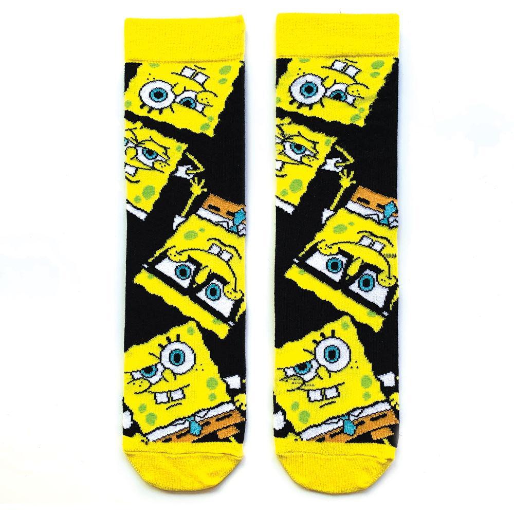 Gözlüklü sünger bob desenli siyah çorap