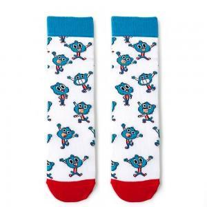 Beyaz Gumball Desenli Çorap