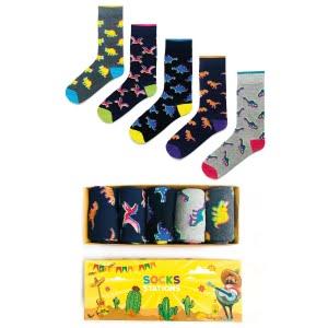 (42-46) 5'li Erkek Dinozor Renkli Çorap Kutusu