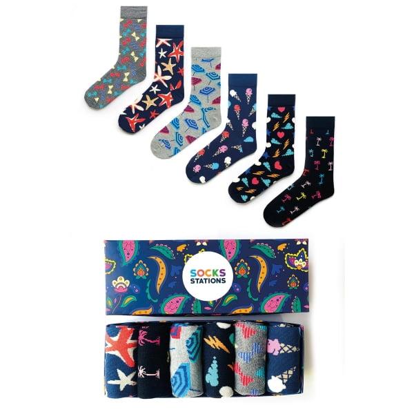 (42-46) 6'lı Erkek Dondurmalı Renkli Çorap Kutusu