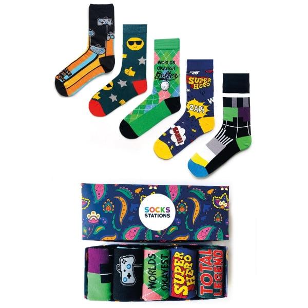 (43-47) 5'li Erkek Hero Renkli Çorap Kutusu