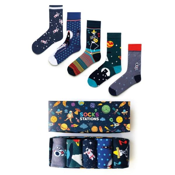 (43-47) 5'li Erkek Uzay Renkli Çorap Kutusu