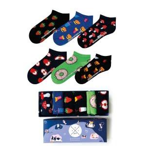6'lı Renkli Bilek Desenli Çorap Kutusu