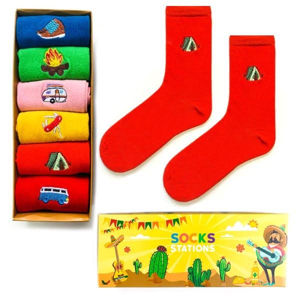 6'lı kamp nakışlı desenli çorap kutusu