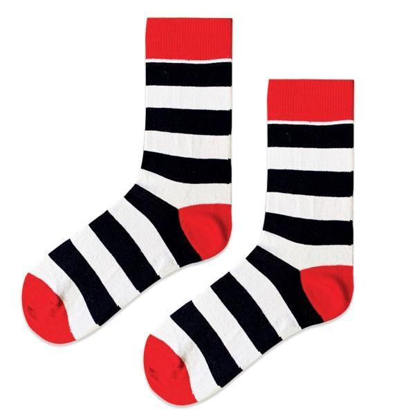 (42-46) Erkek Kırmızı Beyaz Çizgili Çorap