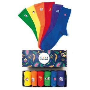 6'lı Kedicik Nakışlı Renkli Çorap Kutusu