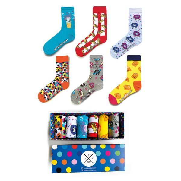 6'lı Pop Art Desenli Çorap Kutusu