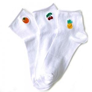 3'lü Nakışlı Meyveli Bilek Çorap