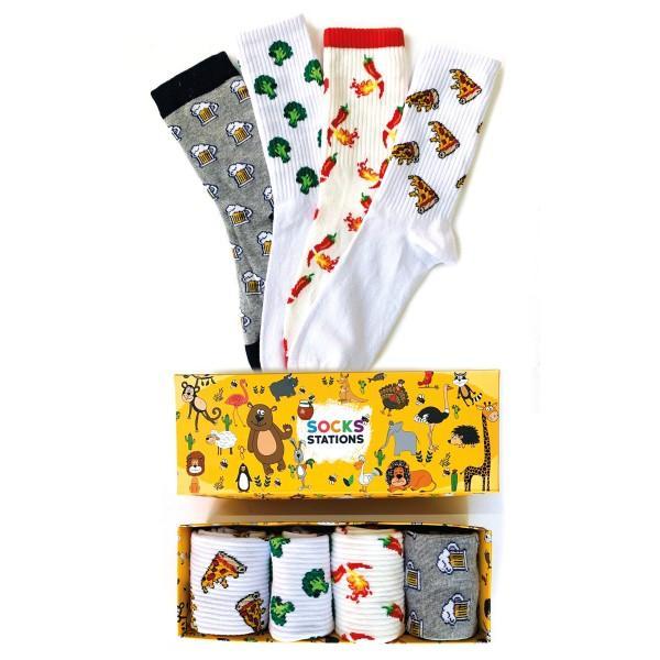 4'lü Chili Desenli Renkli Çorap Kutusu