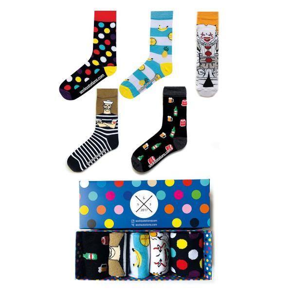 5'li Denizci Desenli Çorap Kutusu
