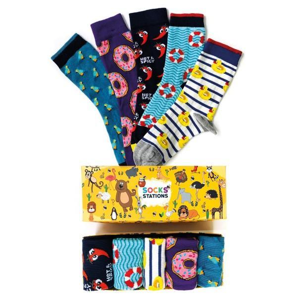 5'li Can Simidi Desenli Renkli Çorap Kutusu