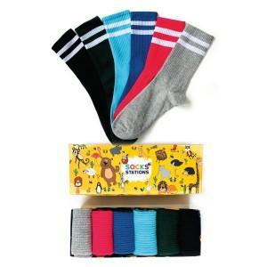 6'lı Çift Çizgi Renkli Çorap Kutusu