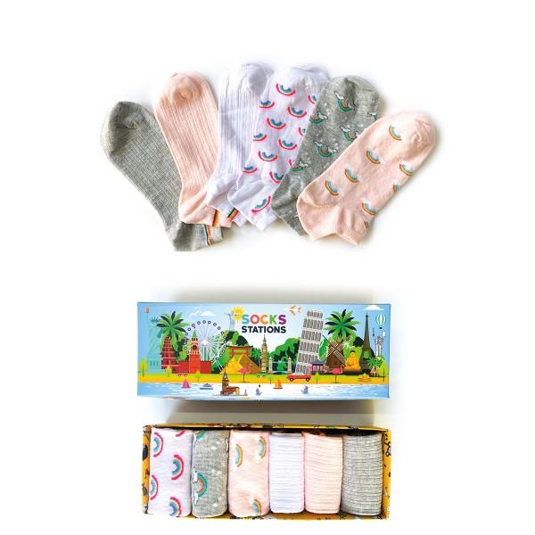 6'lı Gökkuşağı Desenli Bilek Çorap Kutusu