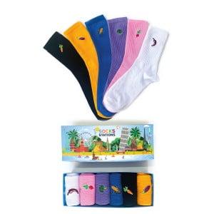 6'lı Sebze Nakışlı Renkli Çorap Kutusu