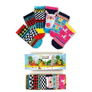 6'lı Lama Desenli Renkli Çorap Kutusu
