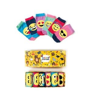 6'lı Emoji Desenli Çorap Kutusu
