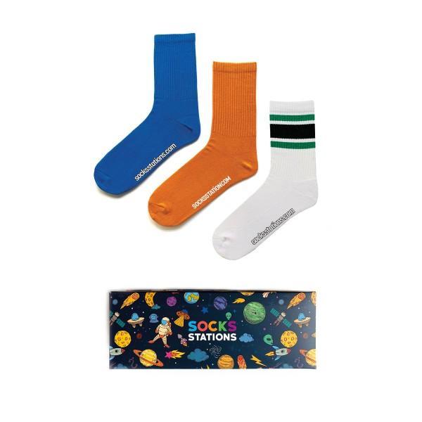 3'lü Mavi-Hardal Çorap Kutusu