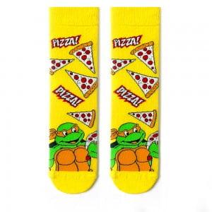 Pizza ninja desenli sarı çorap