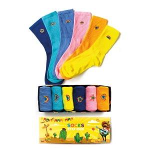 6'lı Gökkuşağı Nakışlı Çorap Kutusu
