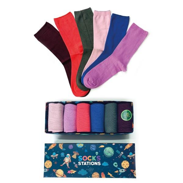 6'lı Karışık Renkler Bambu Çorap Kutusu