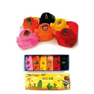 6'lı Renkli Meyveli Nakışlı Bilek Çorap Kutusu