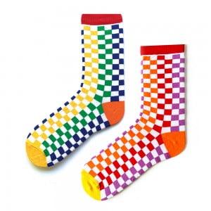 Çift Taraflı Dama Desenli Çorap