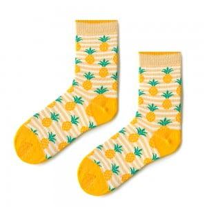 Çizgili Ananas Sarı Çorap