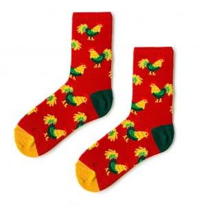Tavuk Desenli Kırmızı Sarı Renkli Soket Çorap-horoz çorap