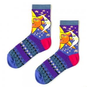 Güneş Ay Desenli Sanatsal Çorap