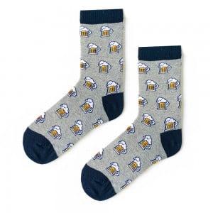 Biralı Siyah Topuk Gri Çorap