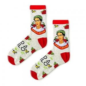 Çiçekli Frida Kahlo Bej Sanatsal Çorap
