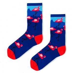 Flamingo Desenli Çorap Köpek Mavi Çorap