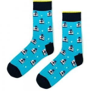 Desenli Mavi Erkek Çorap Uzun