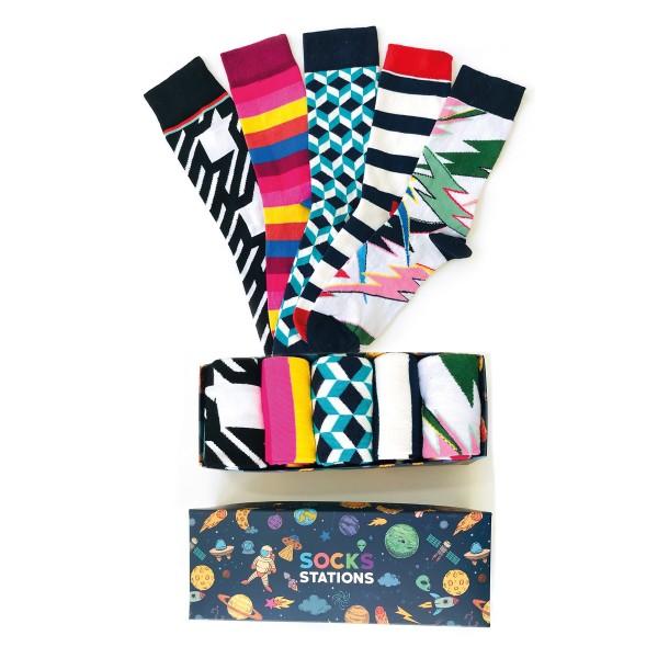(42-46) 5'li Şimşek Desenli Erkek Çorap Kutusu