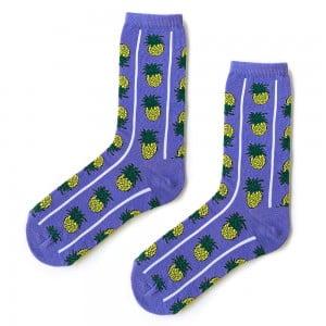 Çizgili Ananas Mor Çorap