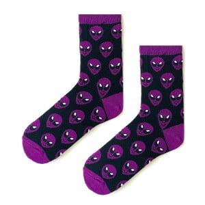Mor Uzay Desenli Çorap