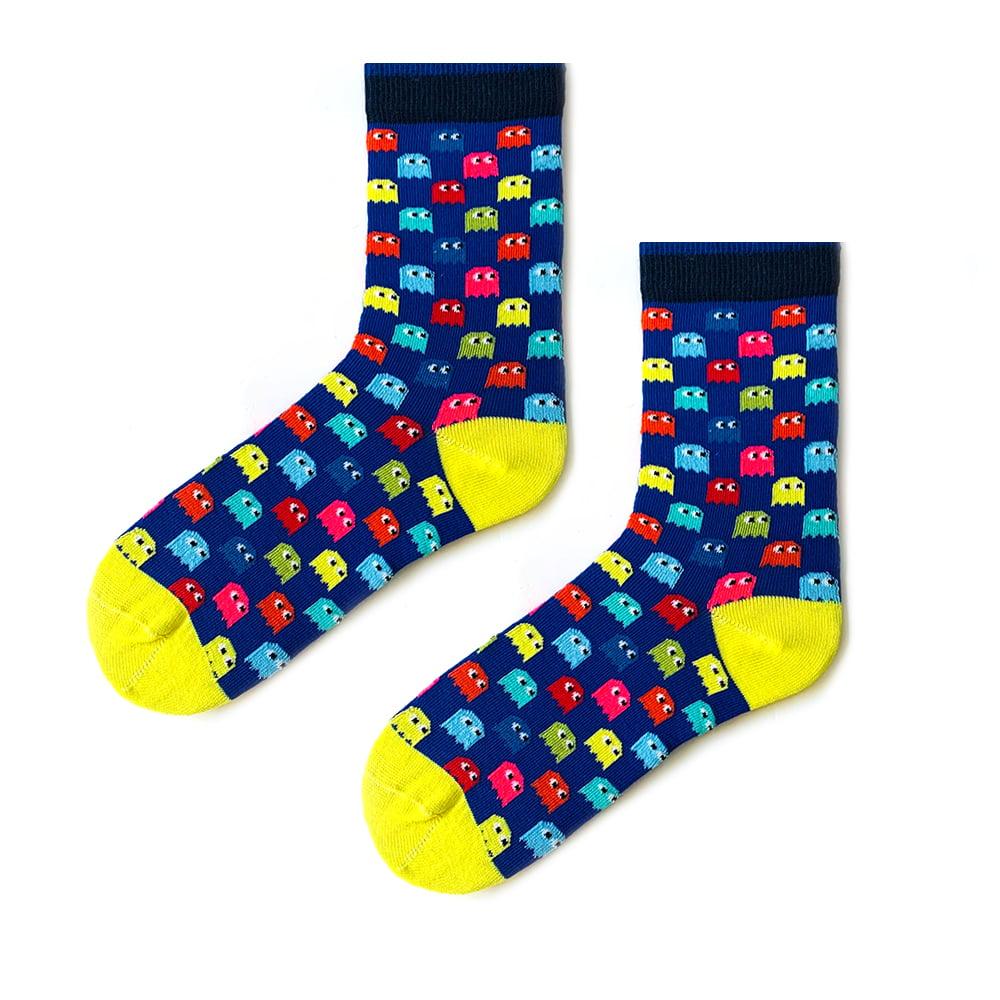 Renkli pacman mavi çorap