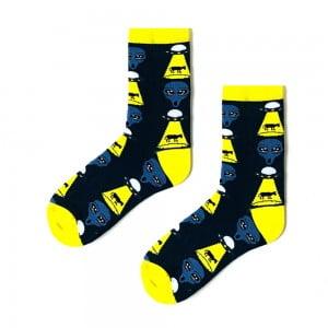 Siyah Uzay Desenli Çorap