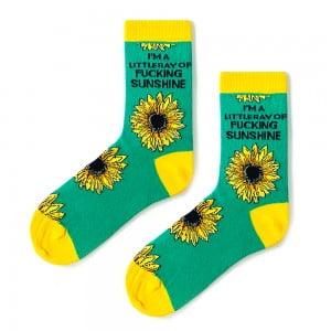 Ayçiçek Desenli Yeşil Çorap