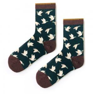 Martı Desenli Yeşil Çorap