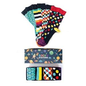 (43-47) 4'lü Erkek Karışık Desenli Çorap Kutusu