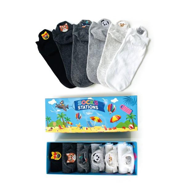 6'lı Emoji Nakışlı Bilek Çorap Kutusu