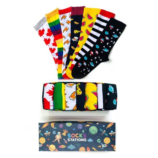 7'li Pizza Karışık Çorap Kutusu