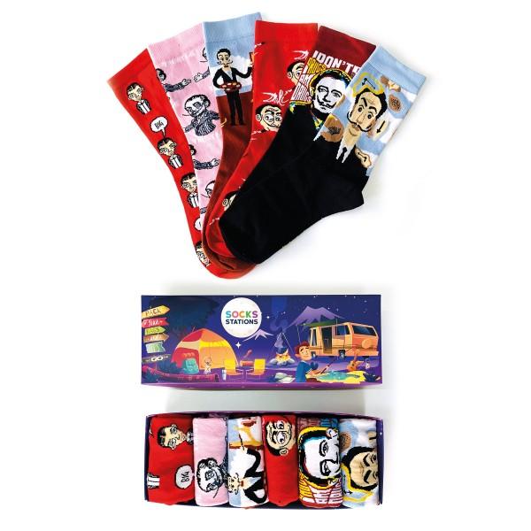 6'lı Salvador Dali Renkli Çorap Kutusu