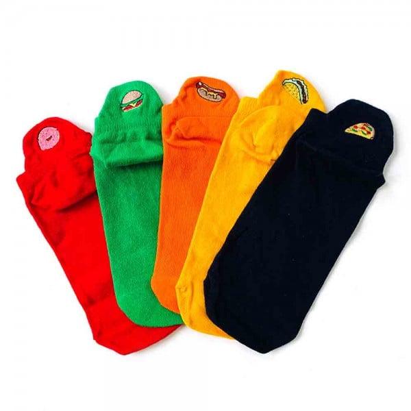 Hamburger Şekilli Nakışlı Yeşil Renkli Patik Çorap