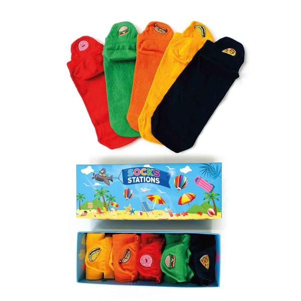 Nakışlı Desenli Renkli Patik Çorap