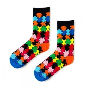 Renkli Puzzle Çorap