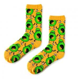 Gözlüklü Avokado Desenli Sarı Çorap